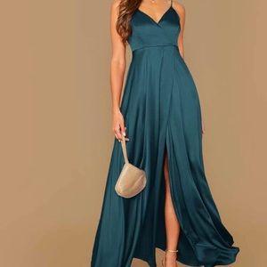 Maxi Wrap Satin Dress